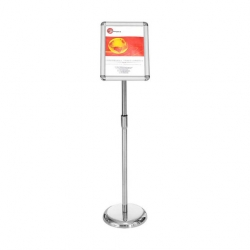 Adjustable Lobby Stand A3 Chrome Base (Sold Singly)