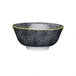 Black and White Floral Ceramic Bowls (4 pcs)