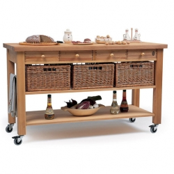 Eddingtons Four Drawer Beechwood Trolley With Baskets