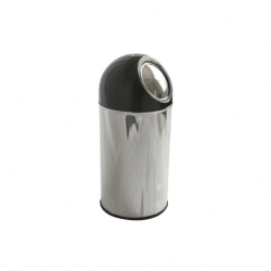 Push Bin 55 ltr s/s with Black Dome