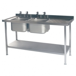 CED Fabrications S/S Sink Double Bowl R/H Drainer 1800mm