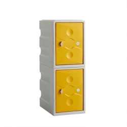 Link 51 2 Door Plastic Locker Grey with Yellow Doors