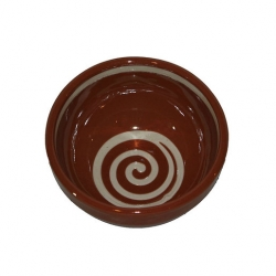 ABS Pottery Deep Bowl Brown with Cream Swirl 13cm