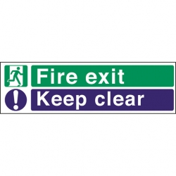 Safety Sign Fire Exit Keep Clear (Sold Singly)