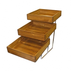 3 Tier Chrome Stand & Distressed Wood Trays (Sold Singly)