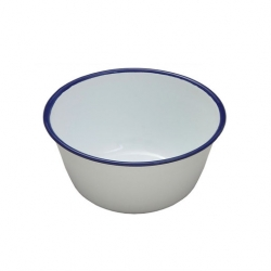 Round Pudding Basin - White Enamel On Steel 14cm (Sold Singly)