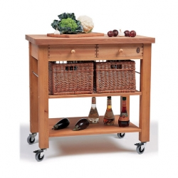 Eddingtons Two Drawer Beechwood Trolley With Baskets