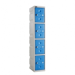 Link 51 4 Door Plastic Locker Grey with Blue Doors