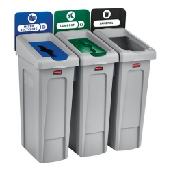 Rubbermaid Recycling Bin 3 Stream Bundle