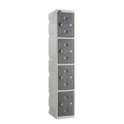 Link 51 4 Door Plastic Locker Grey with Grey Doors
