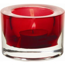 Heavy Base Tealight Holder Red Glass 8cm (Sold Singly)