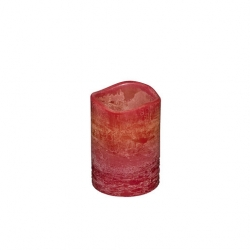 Natural Glow 6.5inch Wave Rim Frosted - Crystal LED Candle - Red