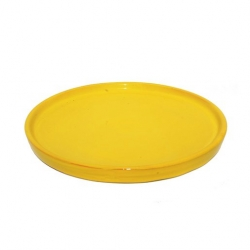 Colourful Terracotta Round 25cm Platter Yellow (4 pcs)