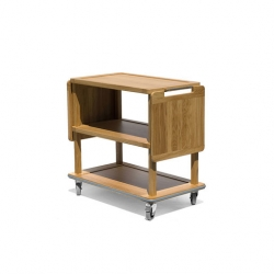 Craster Solid Oak Three Tier Trolley With Rising Flaps