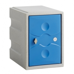 Link 51 1 Door Plastic Locker Grey with Blue Door