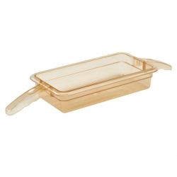 Cambro Food Pan 1/3 x 2 Inch Double Handle H-Pan Amber
