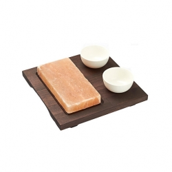 Bisetti Rect Salt Plate With Wood Base 2 Bowls 20x10cm