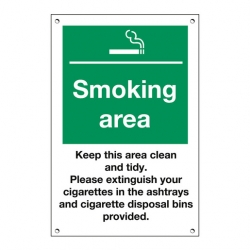 Mileta Exterior Sign Smoking Area, Keep Clean & Tidy