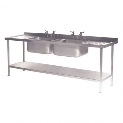CED Fabrications S/S Sink Double Bowl & Drainers 2400mm