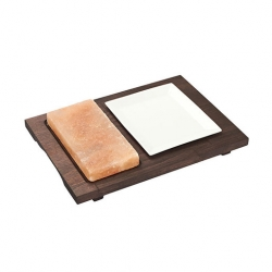 Bisetti Rect Salt Plate With Wood Base And Dish 20x10cm
