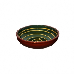 ABS Pottery Manoli Bowl Green With Yellow Swirl 20cm