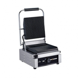 Chefmaster Single Contact Grill Small, Ribbed Top & Bottom