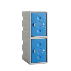 Link 51 2 Door Plastic Locker Grey with Blue Doors