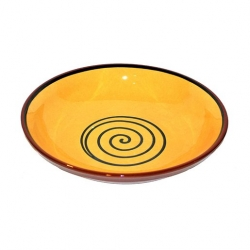 ABS Pottery Manoli Bowl Yellow With Green Swirl 38cm