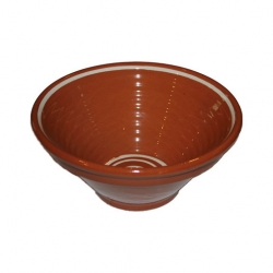 ABS Pottery Manoli Ribbed Bowl 25cm BRN/CRM