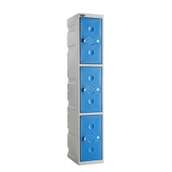 Link 51 3 Door Plastic Locker Grey with Blue Doors