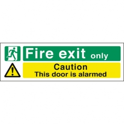 Safety Sign Fire Exit Caution Door Is Alarmed (Sold Singly)