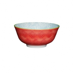 Leaf Print and Terracotta Look Ceramic Bowls (4 pcs)