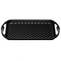 Le Creuset Cast Iron Rectangular Grill - Satin Black