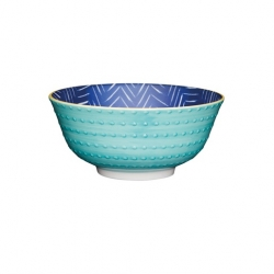 Contrasting Blue Chevron and Spotty Ceramic Bowls (4 pcs)