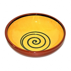 ABS Pottery Manoli Bowl Yellow With Green Swirl 25cm