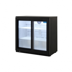 Arctica Black Double Sliding Door Bottle Cooler