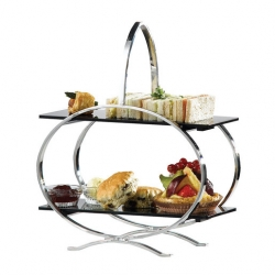Artis Cake Stand S/Steel With Two Acrylic Plates