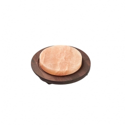 Bisetti Round Salt Plate With Wood Base 20cm