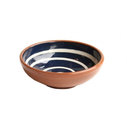 ABS Pottery Tapas Bowl Blue with Cream Swirl 12cm