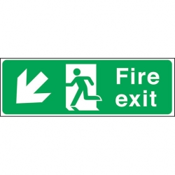 Fire Exit LEFT DOWN Arrow Sign (Sold Singly)