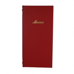 2/3rd A4 Buckram menu 4 card Red 31.5 x 15.5cm (Sold Singly)