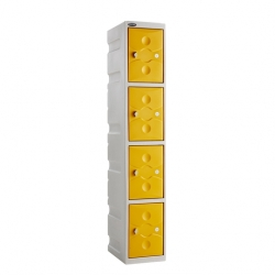 Link 51 4 Door Plastic Locker Grey with Yellow Doors