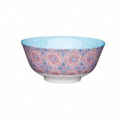 Blue and Red Mosaic Style Ceramic Bowls (4 pcs)