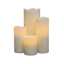 Natural Glow 4.5inch Wave Rim Frosted Crystal LED Candle Ivory