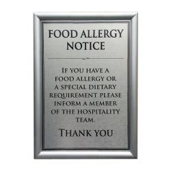 Allergen Wall Sign Dietary Requirements A4 (Sold Singly)
