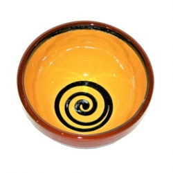 ABS Pottery Manoli Pudding Bowl Yellow With Green Swirl 13cm