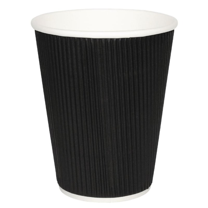 Fiesta Ripple Wall Takeaway Coffee Cups Black 225ml / 8oz x 25 (Pack of 25)