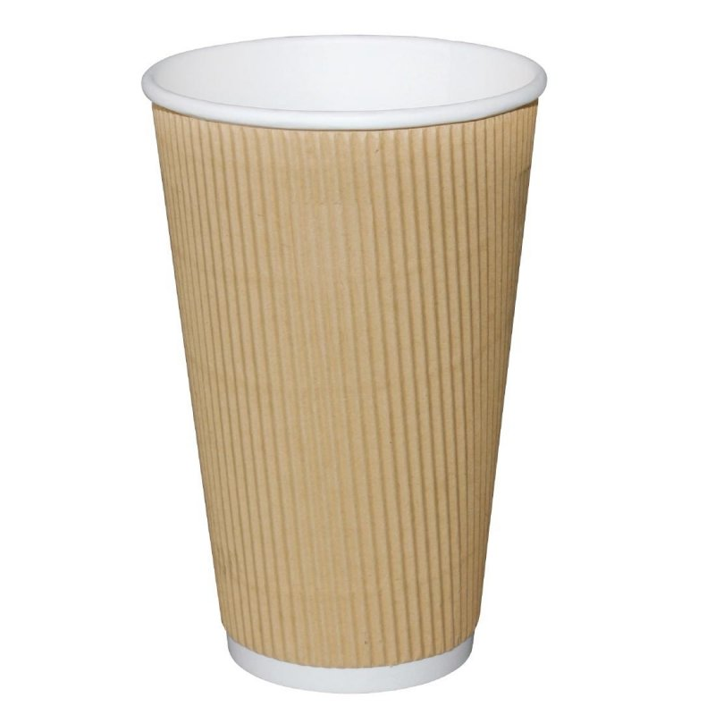 Fiesta Ripple Wall Takeaway Coffee Cups Kraft 455ml / 16oz x 500 (Pack of 500)
