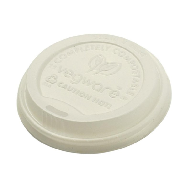 Vegware Compostable Hot Cup Lids 340ml / 455ml (Pack of 1000)