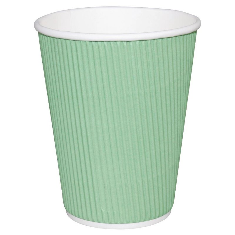 Fiesta Ripple Wall Takeaway Coffee Cups Turquoise 340ml / 12oz x 500 (Pack of 500)